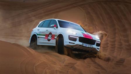 Porsche In Sharjah, desert driving at Al-Fayah desert
