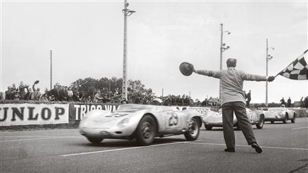 Porsche Jean Behra driving a 718 RSK Spyder during the 24 Hours of Le Mans in 1958