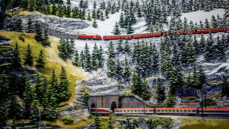 Model of a train by Märklin in a miniature reproduction of the Alpes