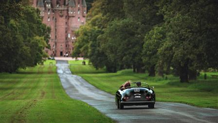 Porsche 356 Speedster in front of Glamis Castle in Scotland