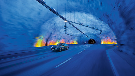 The Porsche Cayenne in the world's longest road tunnel between Aurlandsvangen and Lærdalsøyri