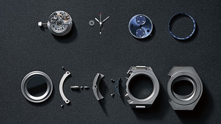 Components of a watch at Porsche Design Timepieces