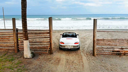 Porsche Boxster at the Pacific coast in Ecuador