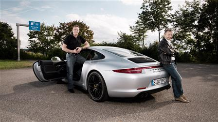 Porsche August Achleitner,head of 911 model line (right), and Thomas Krickelberg, powertrain project manager of 911