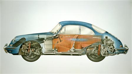 Porsche 1962, 356B Coupé esquema del vehículo