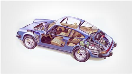 Porsche 1979 (Mj.), 911 SC 3.0 Coupé esquema del vehículo