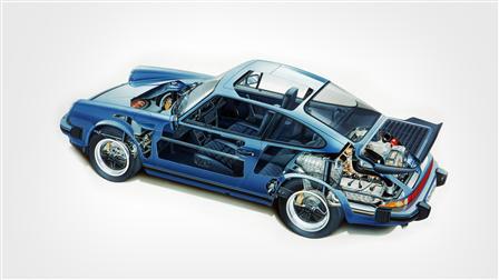 Porsche 1989, 911 Carrera esquema del vehículo