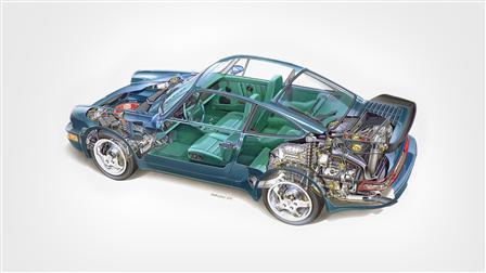 Porsche 1992, 964 Turbo 3.3 esquema del vehículo