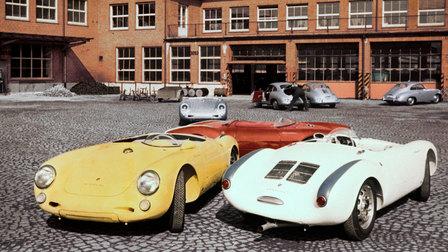 1956: Porsche 550 Spyder im Werk 1